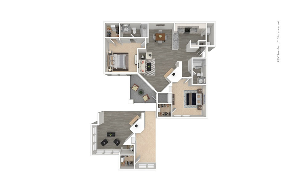 Florence 2 bedroom 2 bath 1069 - 1177 square feet