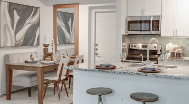 Kitchen and dining area at our Irving apartments