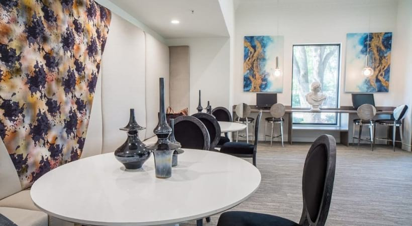 Our Valley Ranch apartment business center with work stations and WiFi