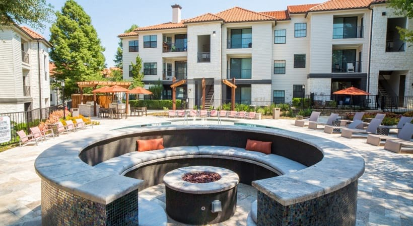 Outdoor fire pit at our Valley Ranch apartments