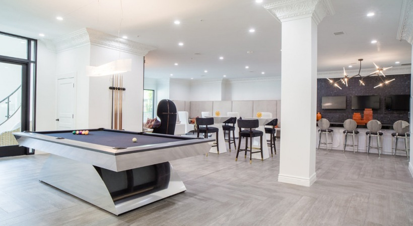 Our Valley Ranch apartment clubhouse with pool table and lounge areas