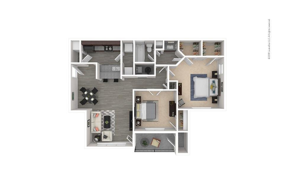 Magnolia 2 bedroom 1 bath 990 square feet