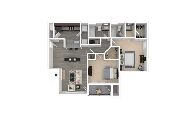 Oak 2 bedroom 2 bath 1060 square feet