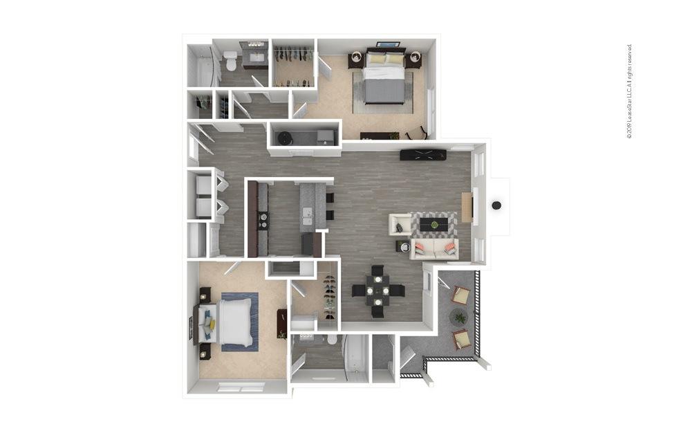 Pine 2 bedroom 2 bath 1230 square feet