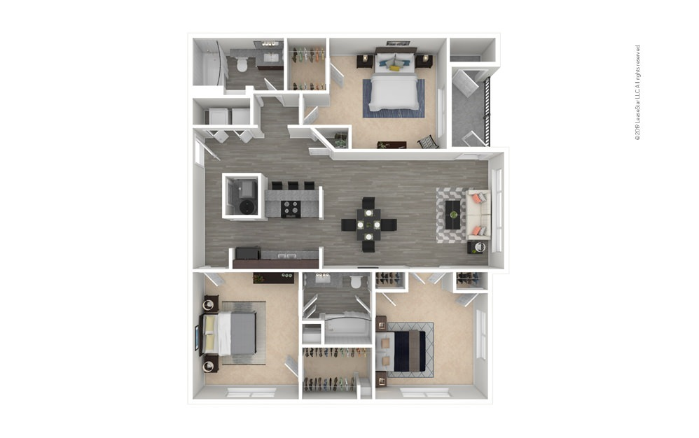 Willow 3 bedroom 2 bath 1268 square feet