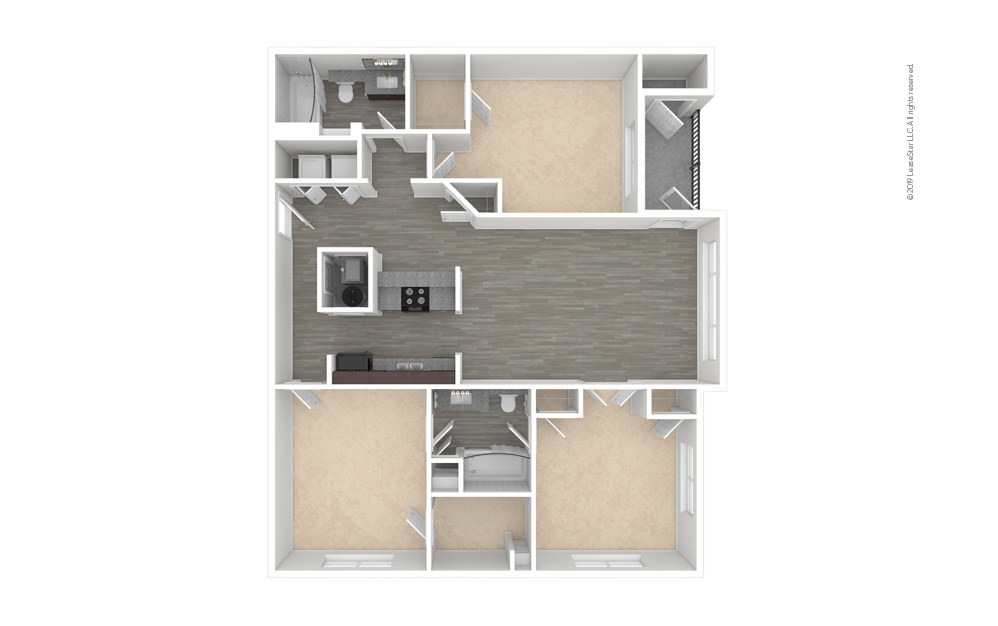 Willow 3 bedroom 2 bath 1268 square feet (1)