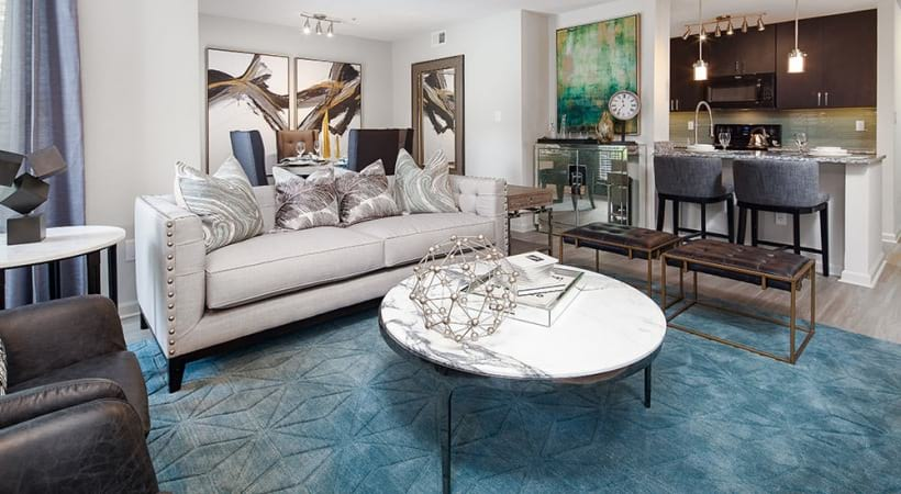 Spacious apartment living room at Cantera by Cortland