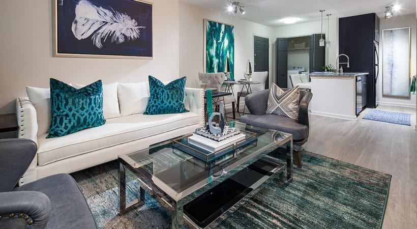 Spacious apartment living room at our Embry Hills apartments