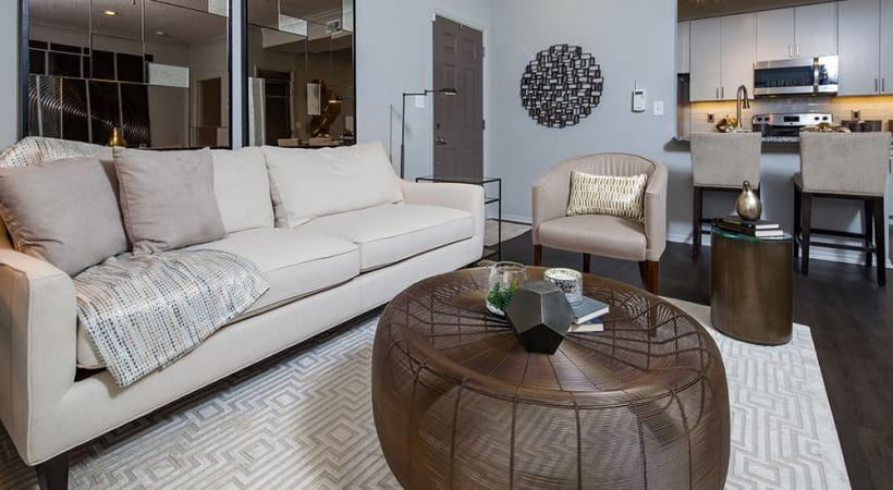 Spacious living room at The Hamptons at RTP