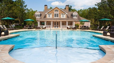 Resort style pool at luxury Durham apartment complex