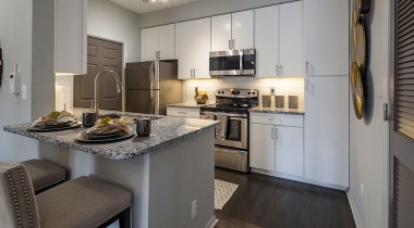 Modern apartment kitchen at Cortland at RTP