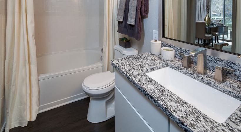 Spacious apartment bathroom at The Hamptons at RTP