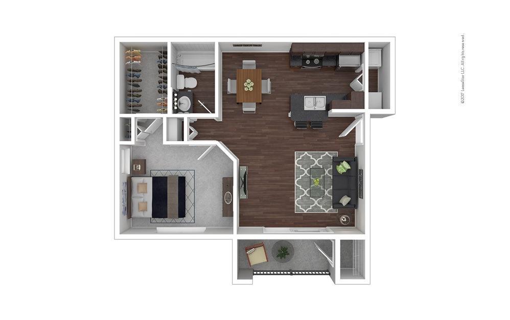 The Amelia 1 bedroom 1 bath 826 square feet