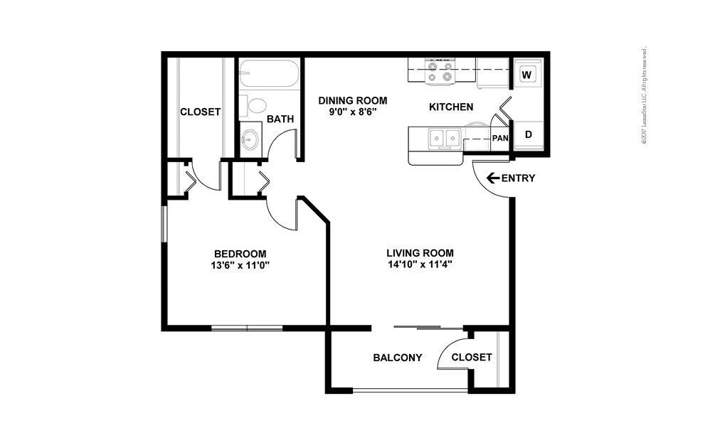 The Amelia 1 bedroom 1 bath 826 square feet (1)
