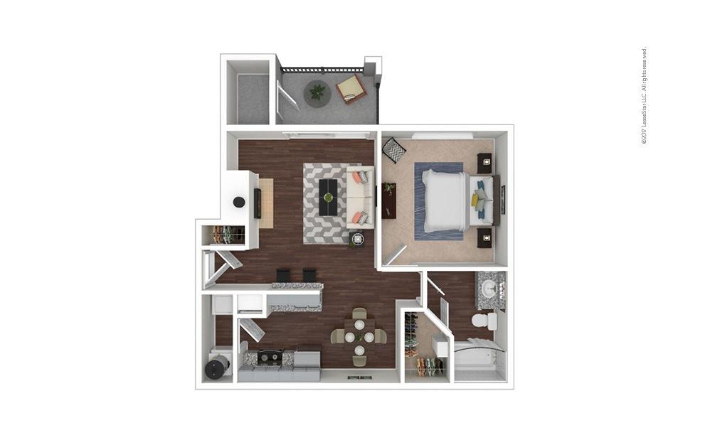 A1 1 bedroom 1 bath 692 square feet