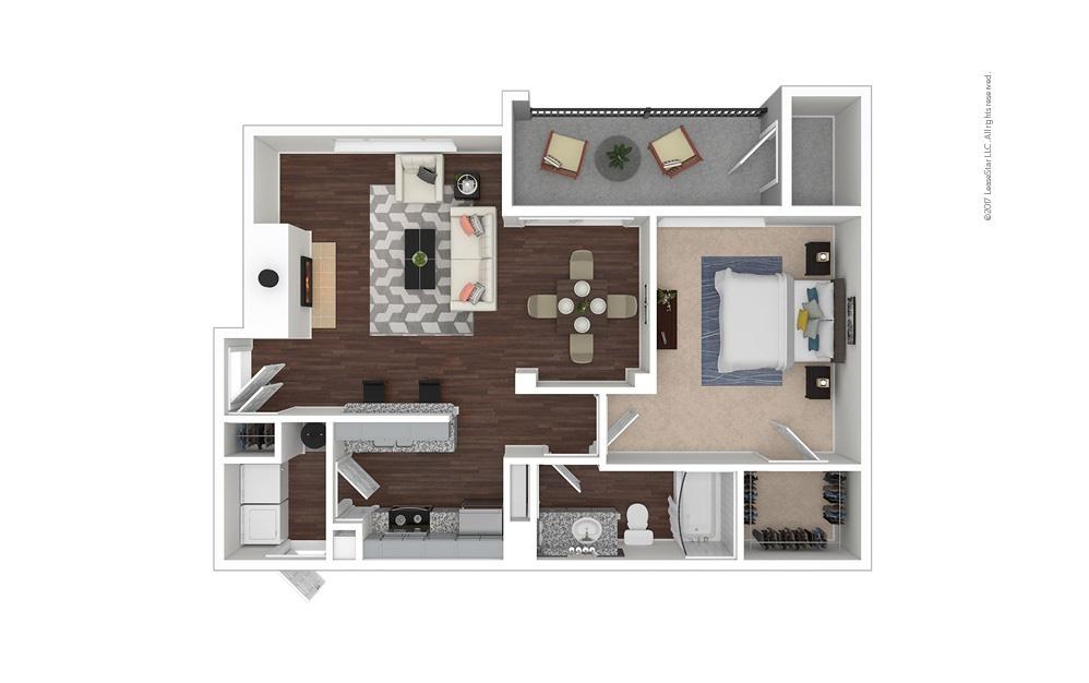 A3 1 bedroom 1 bath 819 square feet