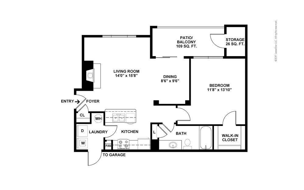 A3 1 bedroom 1 bath 819 square feet (2)