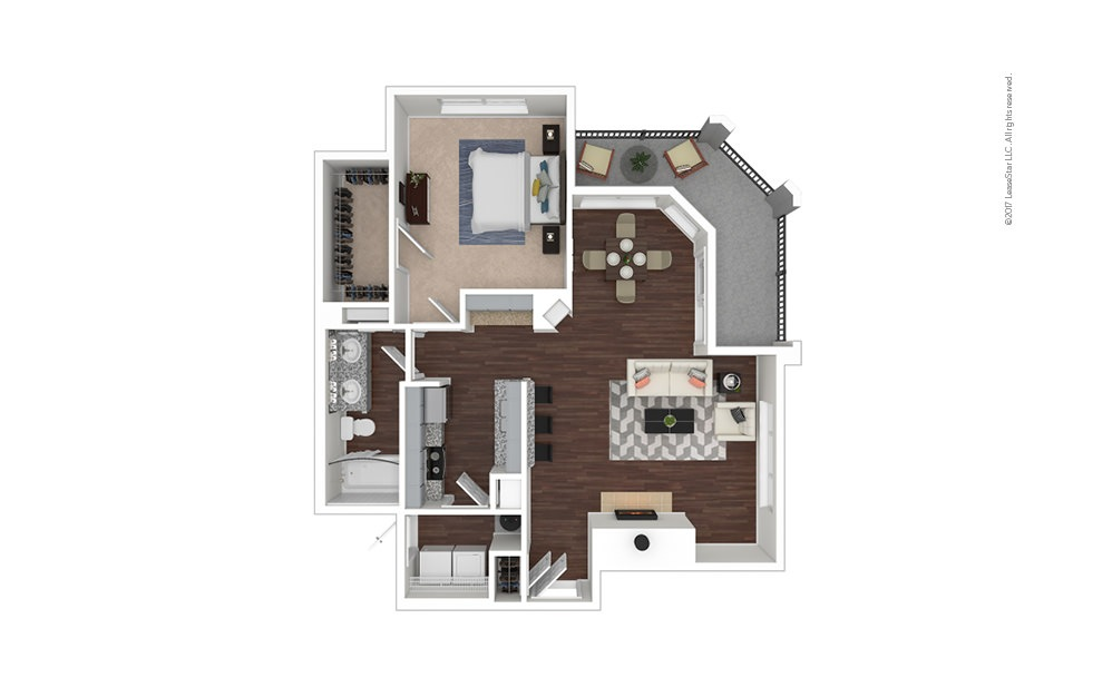 A4 1 bedroom 1 bath 840 square feet
