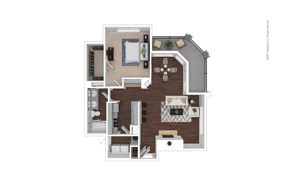 A6 1 bedroom 1 bath 872 square feet