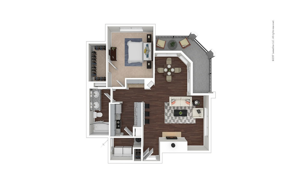 A7 1 bedroom 1 bath 939 square feet