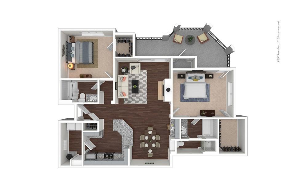 B10 2 bedroom 2 bath 1278 square feet