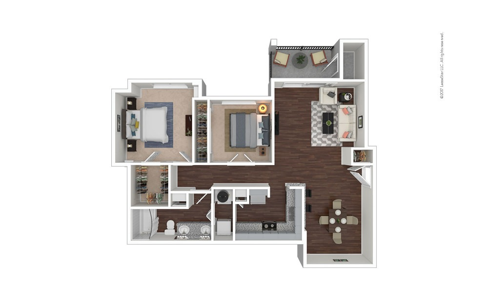 B2 2 bedroom 1 bath 992 square feet