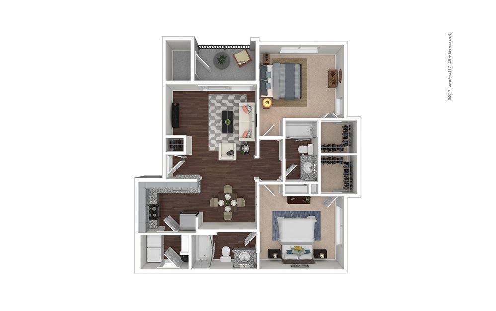 B3 2 bedroom 2 bath 955 square feet