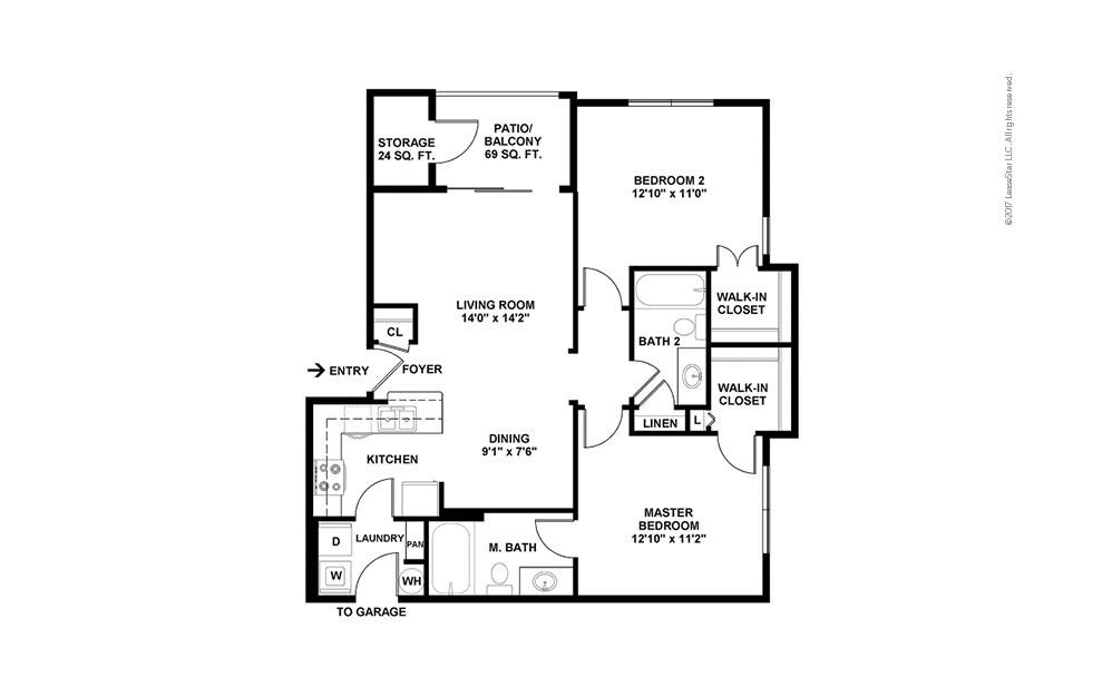 B3 2 bedroom 2 bath 955 square feet (2)