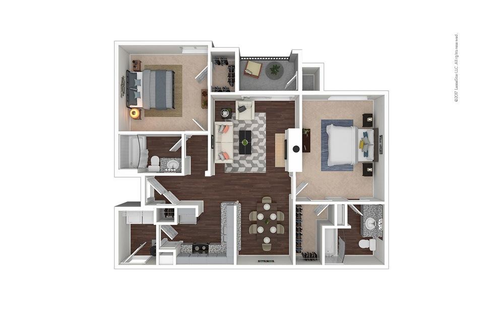 B7 2 bedroom 2 bath 1155 square feet