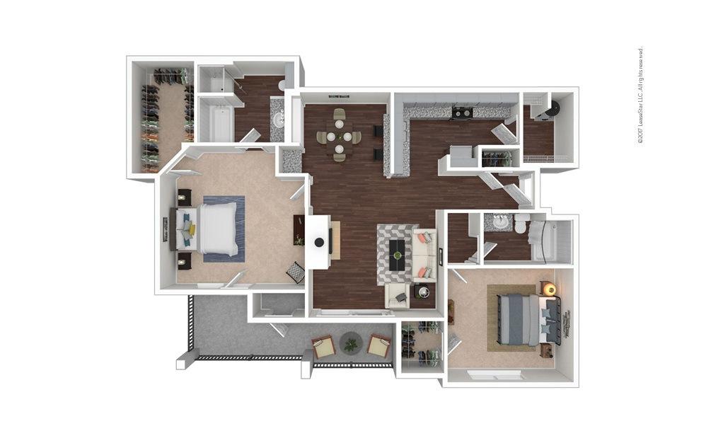 B9 2 bedroom 2 bath 1243 square feet