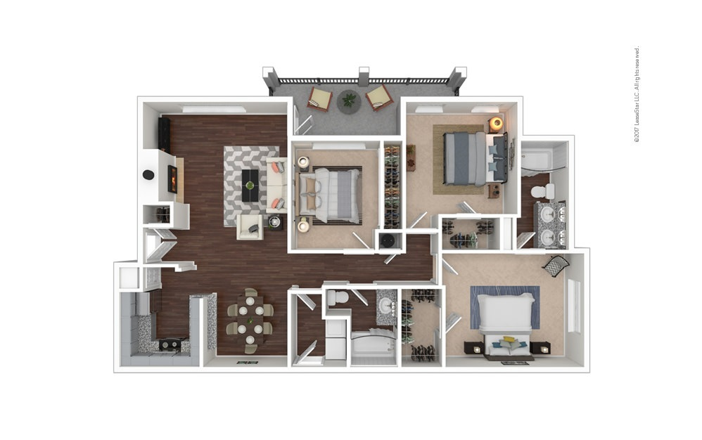 C1 3 bedroom 2 bath 1355 square feet