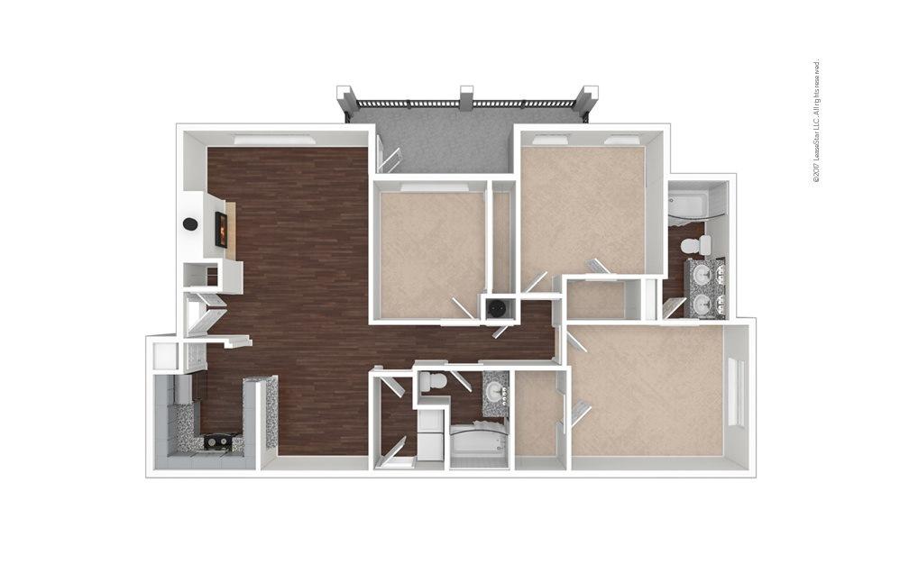 C1 3 bedroom 2 bath 1355 square feet (1)