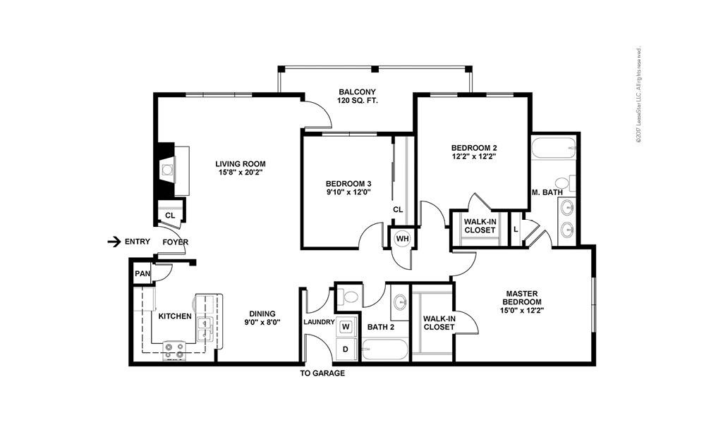 C1 3 bedroom 2 bath 1355 square feet (2)
