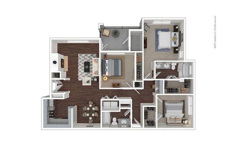 C2 3 bedroom 2 bath 1368 square feet
