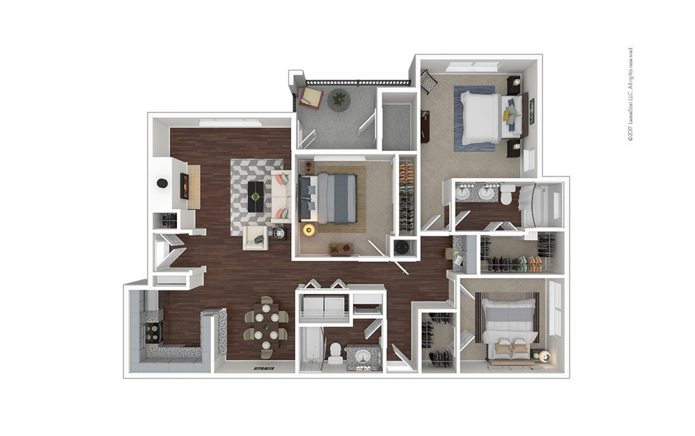 C3 3 bedroom 2 bath 1415 square feet