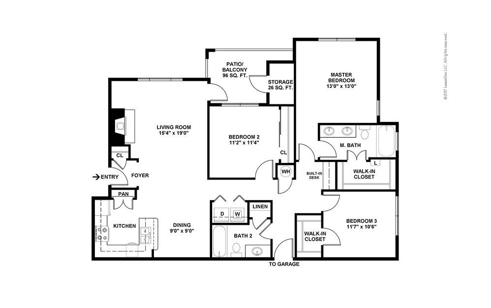 C3 3 bedroom 2 bath 1415 square feet (2)