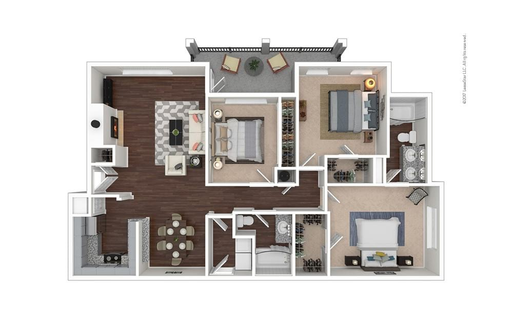 C4 3 bedroom 2 bath 1436 square feet