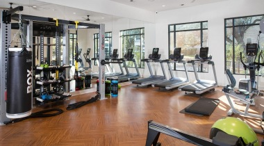 Our Preserve at Rolling Oaks apartment gym with cardio equipment
