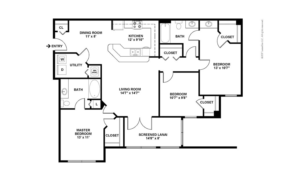 C1 The Devonshire 3 bedroom 2 bath 1315 square feet (2)