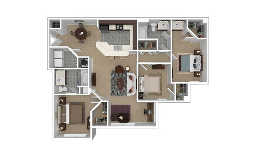 C2 The Pembroke 3 bedroom 2 bath 1434 square feet