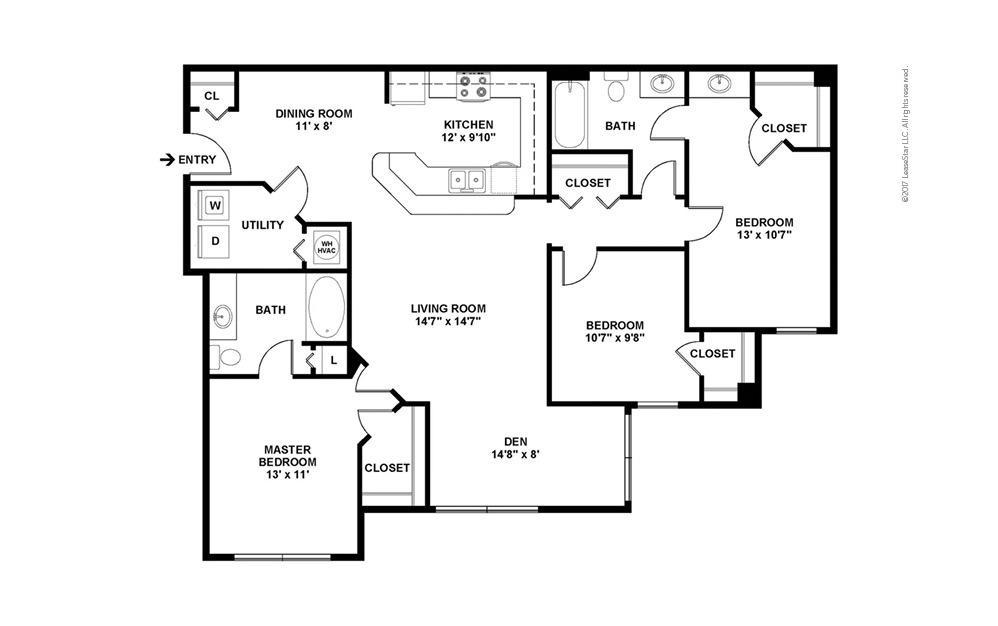 C2 The Pembroke 3 bedroom 2 bath 1434 square feet (2)