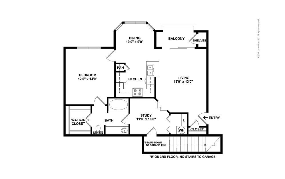 The Carpenter 1 bedroom 1 bath 829 - 939 square feet (2)
