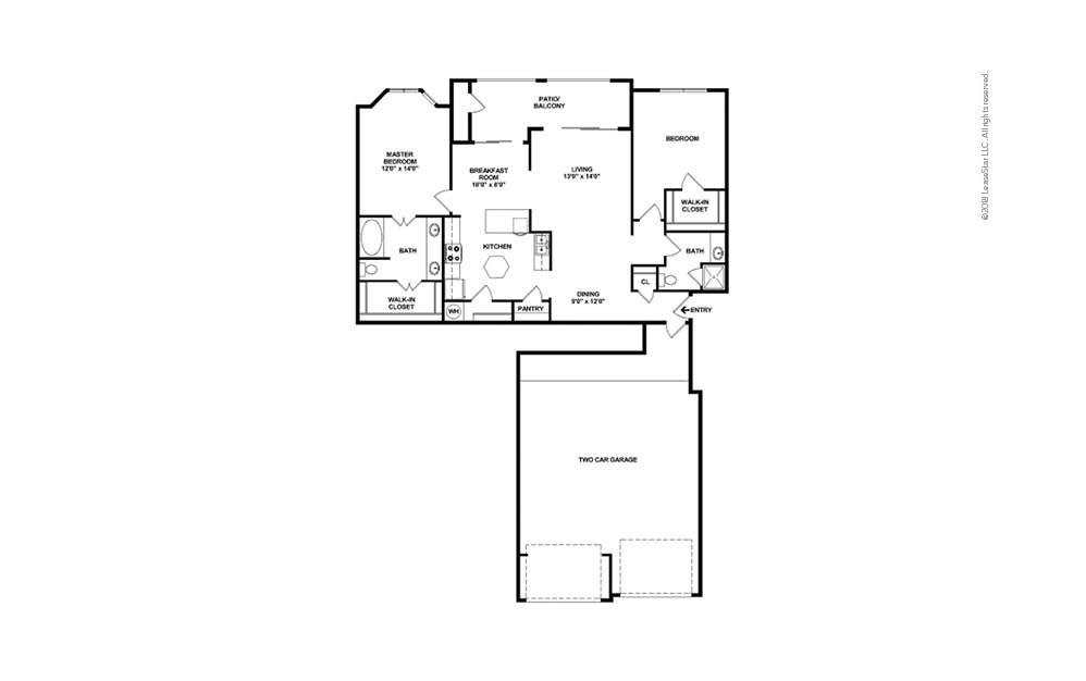 The Ranch 2 bedroom 2 bath 1290 - 1367 square feet (2)