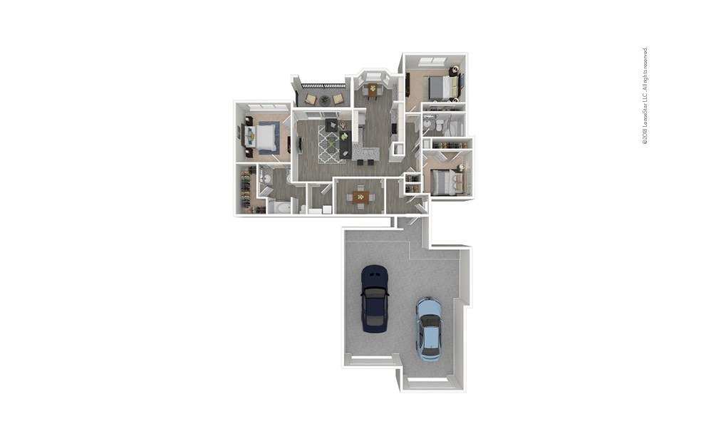 The Urban 3 bedroom 2 bath 1482 - 1552 square feet