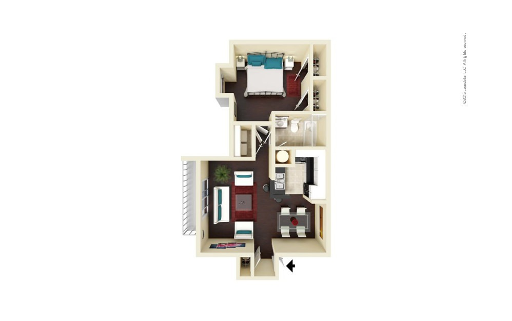 Chantilly 1 bedroom 1 bath 724 square feet
