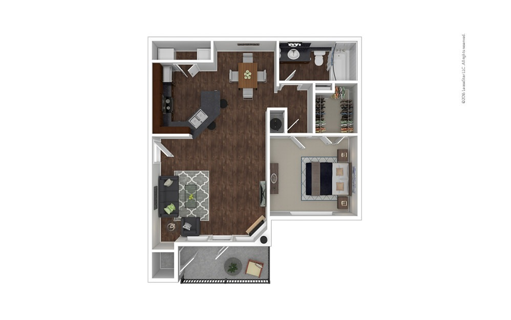 The Santa Anita 1 bedroom 1 bath 858 square feet
