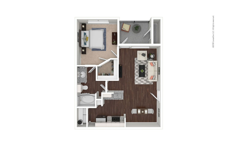 The Fossil 1 bedroom 1 bath 662 square feet