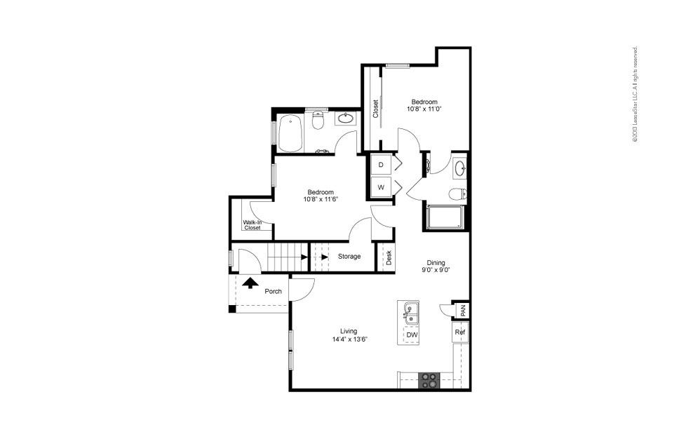 B1 - Texoma 2 bedroom 2 bath 956 square feet (2)