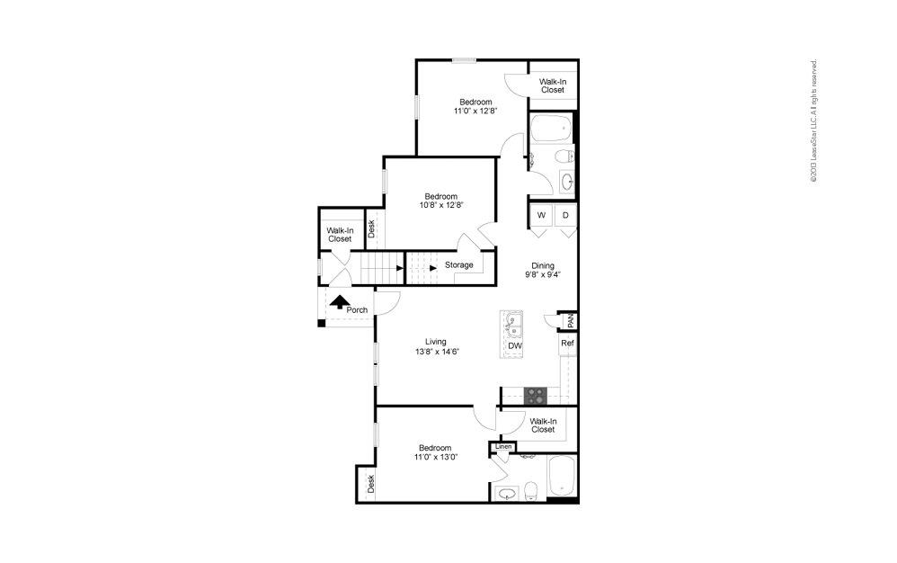 C1 3 bedroom 2 bath 1191 square feet (2)
