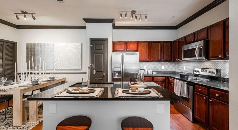 Kitchen island with sleek granite countertops
